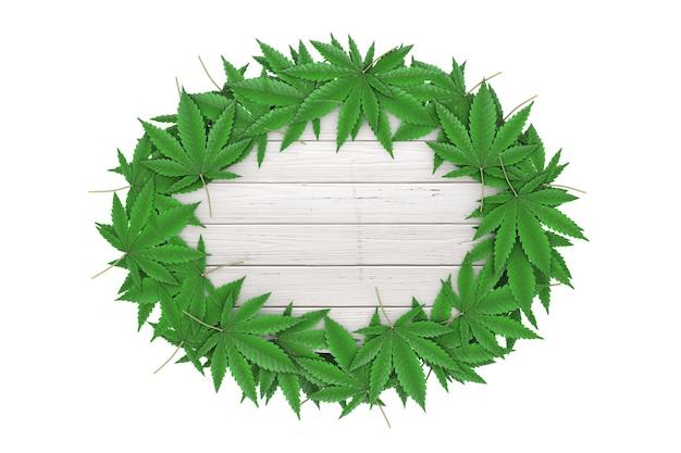 Feuilles de marijuana médicale ou de chanvre de cannabis autour d'une planche de bois blanche avec un espace libre pour votre conception sur un fond blanc. rendu 3d