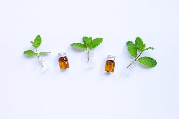 Feuilles de menthe fraîche avec bouteille d'huile essentielle sur blanc