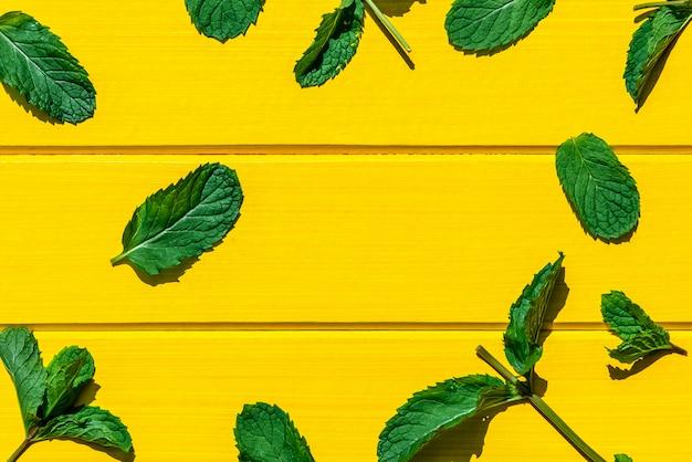 Feuilles de menthe fraîche isolés sur jaune, vue de dessus.