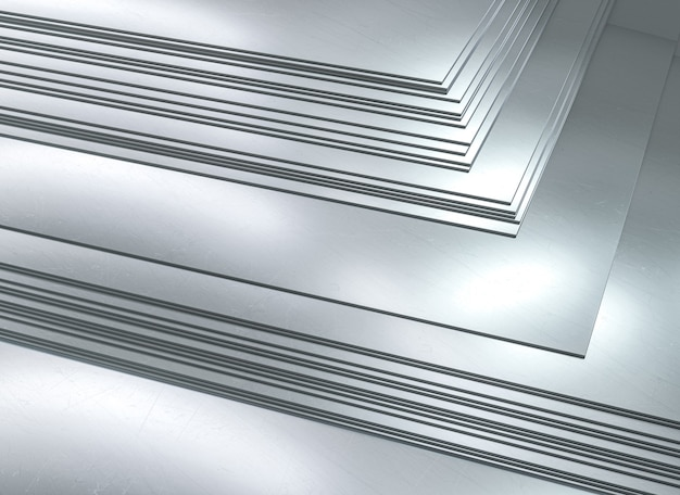 Feuilles de métal empilées. industrie métallurgique. rendu 3d.