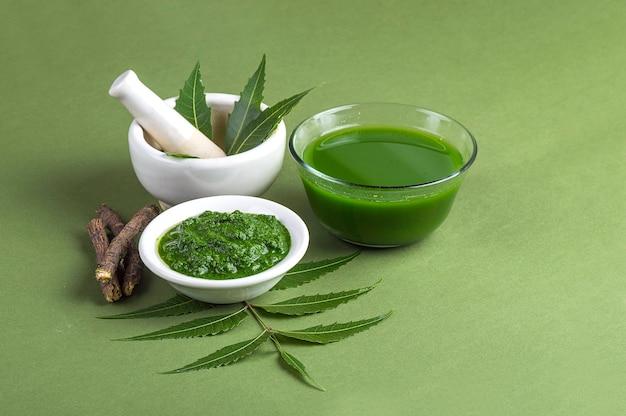 Feuilles de neem médicinales dans un mortier et un pilon avec de la pâte de neem, du jus et des brindilles sur vert