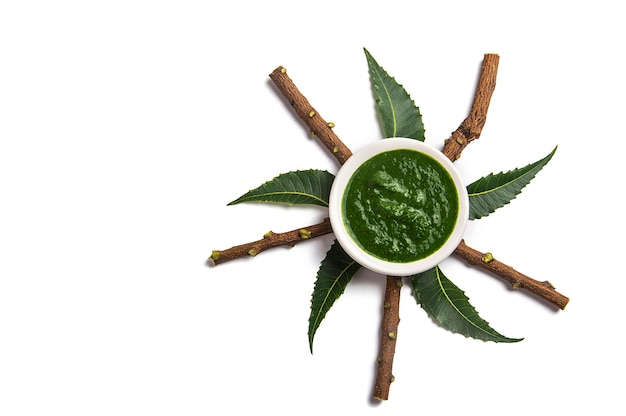 Feuilles de neem médicinales avec de la pâte dans un bol et des brindilles sur une surface blanche
