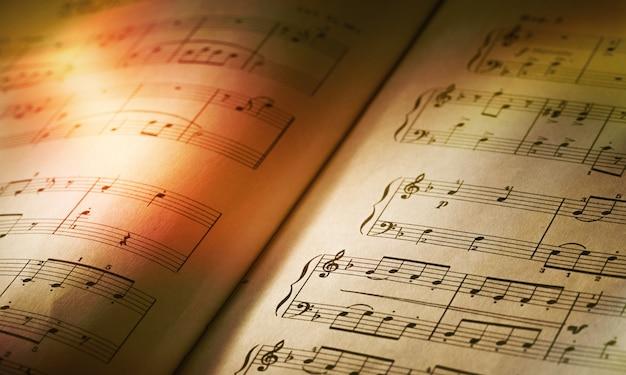 Feuilles avec des notes de musique en gros plan sur la lumière du soleil