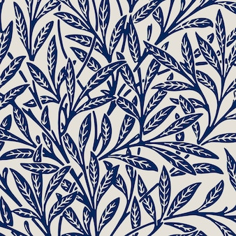 Feuilles d'ornement de fond bleu