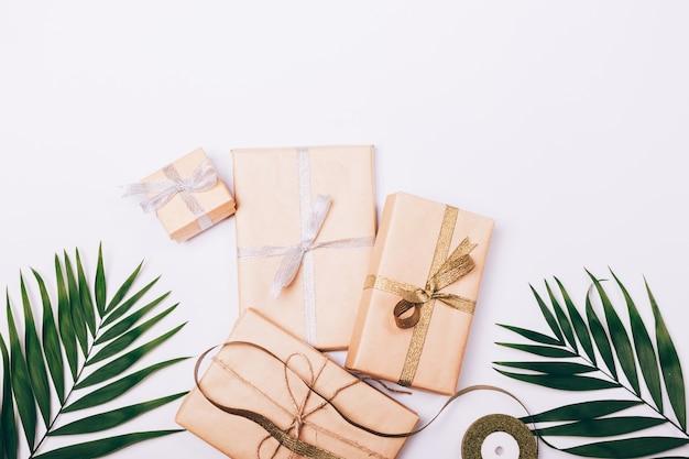 Feuilles de palmier et des boîtes avec des cadeaux et des rubans