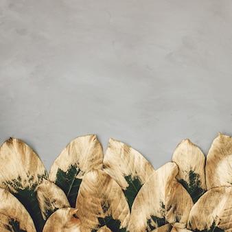 Feuilles peintes en or et vert sur béton gris