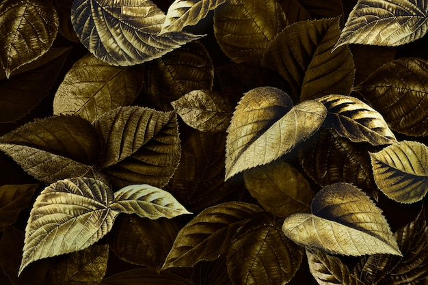 Feuilles de plantes dorées fond texturé