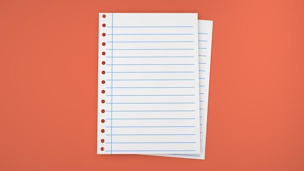 Feuilles de rendu 3d du bloc-notes en papier
