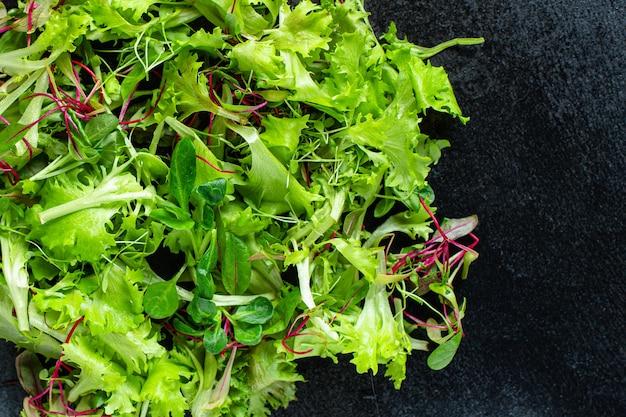 Feuilles de salade saines mélanger mélange de salade micro collation verte manger collation repas sain