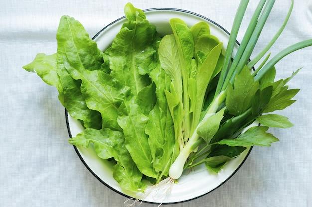 Feuilles de salade verte, oseille, céleri, oignons verts dans un bol en métal blanc