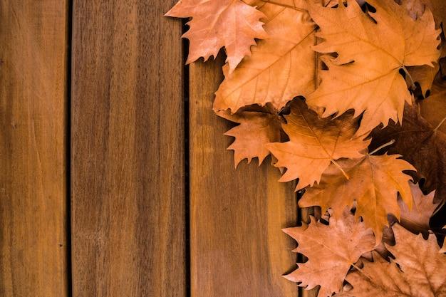 Feuilles sèches d'automne sur une surface en bois