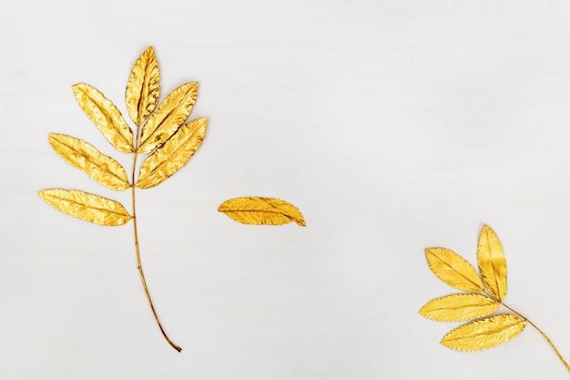 Feuilles de sorbier naturel peint en or. élément décoratif sur fond de béton clair. concept de saison d'automne nature minimale