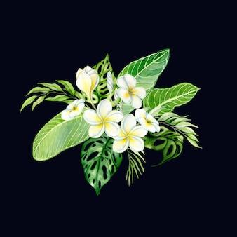 Feuilles tropicales dessinées à la main aquarelle et fleurs colorées en arrangement de bouquet illustration isolée