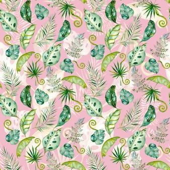 Feuilles de tropiques dessinés à la main aquarelle transparente motif de feuilles exotiques de monstera