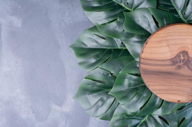 Feuilles vertes artificielles autour du bois rond sur bleu.