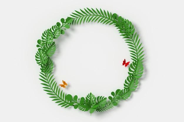 Feuilles vertes en forme de cercle, mouche papillon