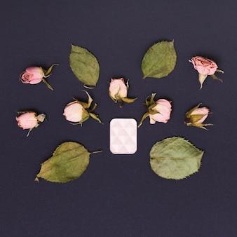 Feuilles vertes séchées et boutons de roses roses avec ombre à paupières sur fond noir