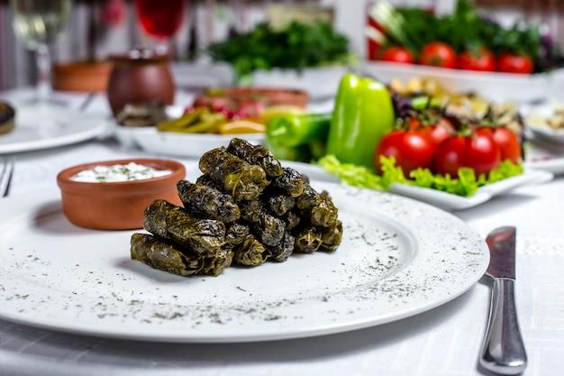 Feuilles de vigne dolma viande hachée feuilles de vigne épices youghurt nature vue latérale