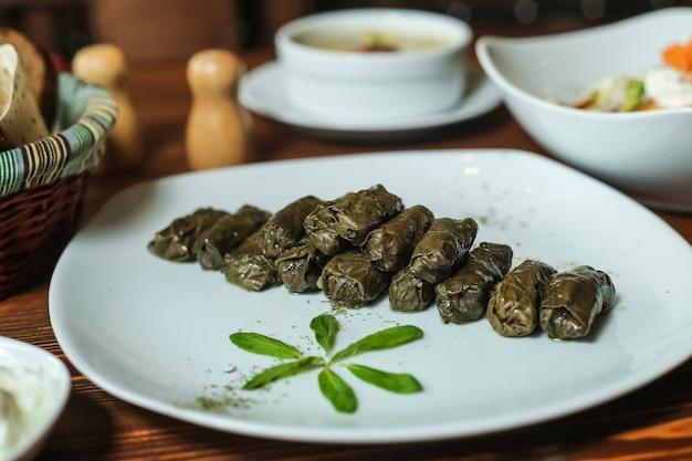 Feuilles de vigne viande hachée dolma feuilles de vigne plaine épices youghurt vue latérale