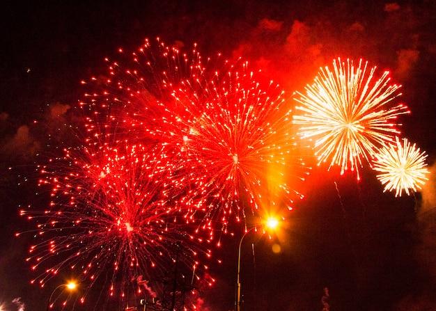 Feux d'artifice festifs multicolores lumineux dans le ciel nocturne