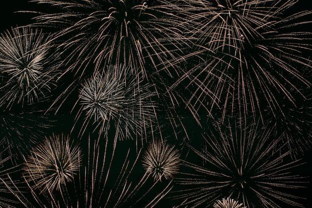 Feux d'artifice illuminent le ciel, célébration de la fête de l'indépendance. spectacle de nuit. jour de la victoire. feux d'artifice de fête. nuit du nouvel an. décorations pour une fête. vacances américaines. jour du canada.