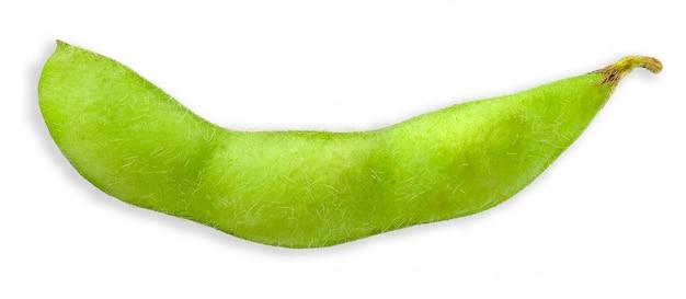 Fève de soja vert isolé sur un tracé de détourage blanc