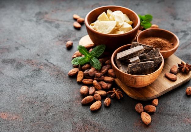 Fèves de cacao, beurre et chocolat
