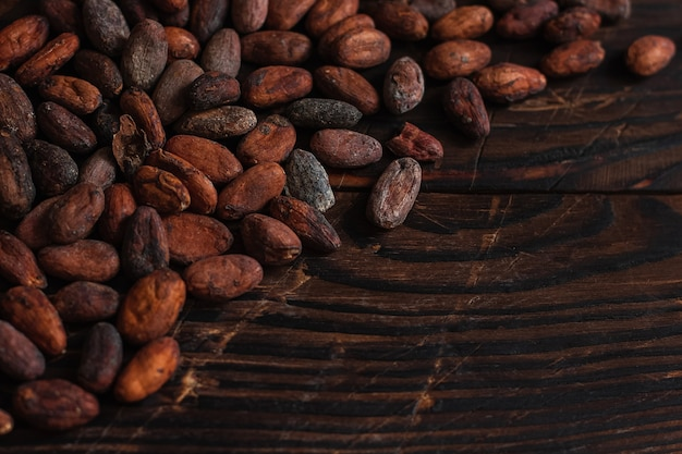 Fèves de cacao crues deux types venezuela sur fond marron.