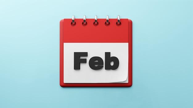 Février sur le rendu 3d du calendrier de bureau papier