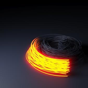 Fibre optique sur surface abstraite et floue