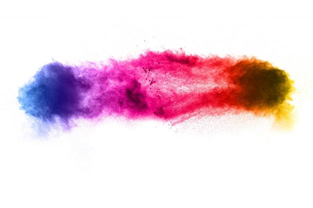 Figer le mouvement des particules de poussière colorées sur blanc