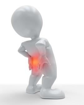 Figure 3d tenant son dos dans la douleur