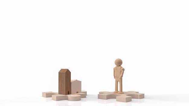 La figure en bois de l'homme et le bois de la maison sur la scie sauteuse pour le rendu 3d de contenu de voiture ou de transport
