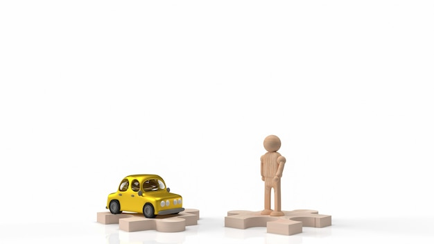 La figure en bois de l'homme et le jouet de voiture sur le puzzle pour le rendu 3d de contenu de voiture ou de transport