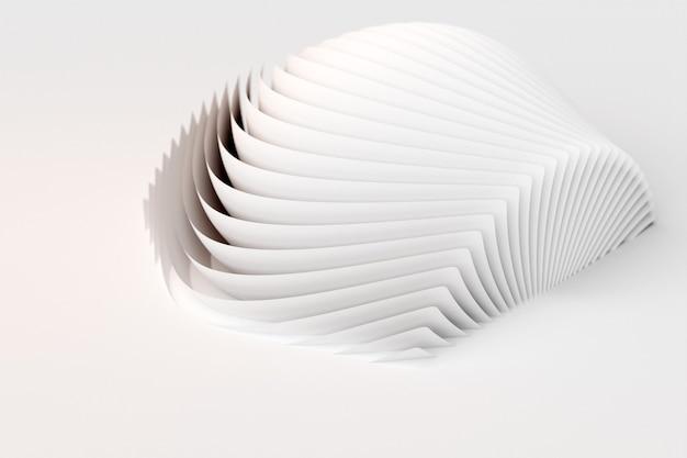 Figure inhabituelle d'illustration 3d avec des feuilles blanches, des feuilles, des pages. ensemble de formes sur fond monocrome, motif. fond de géométrie