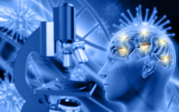 Figure masculine 3d avec cerveau sur fond défocalisé avec microscope et cellules virales