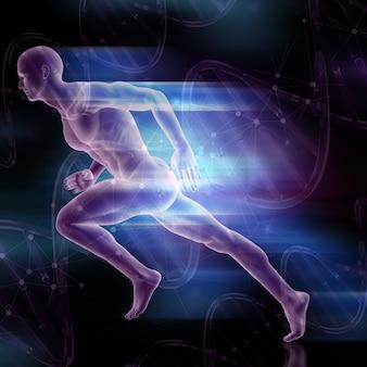 Figure masculine 3d, sprint sur fond de brins d'adn