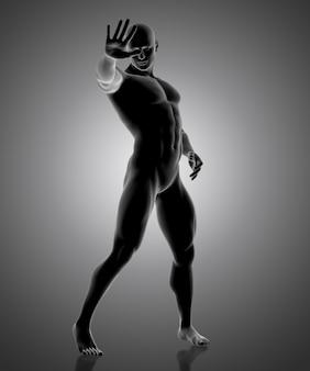 Figure masculine tenant sa main devant
