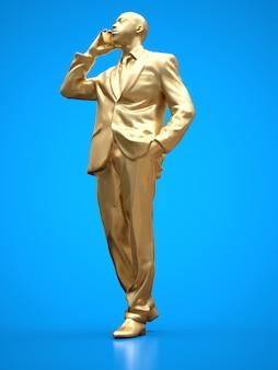 Figure en or d'un homme noir en costume parlant au téléphone. rendu 3d.