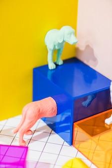 Figures de chien miniatures colorées et lumineuses