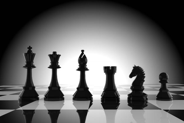 Figures d'échecs noirs à bord en rendu 3d