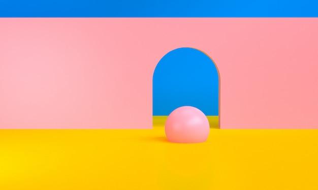 Figures géométriques abstraites minimalistes, rendu 3d.