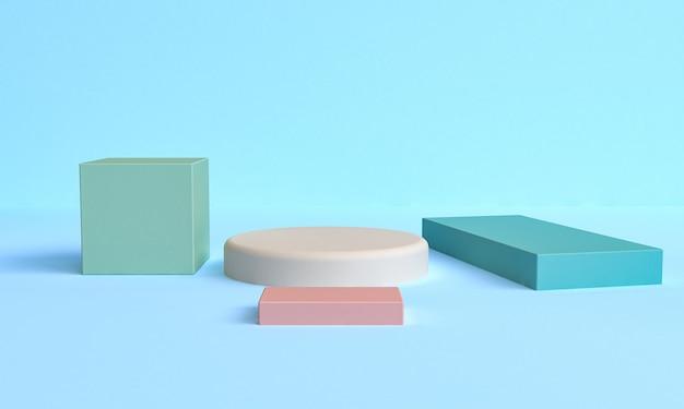 Figures géométriques primitives abstraites minimalistes, couleurs pastel, rendu 3d