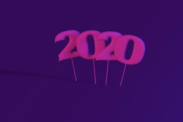 Figures gonflables au néon 2020. ballons. nouvel an. rendu 3d, illustration