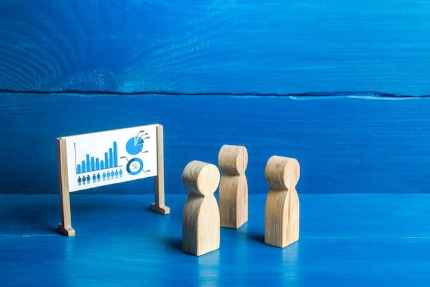 Des figures de personnes regardent le tableau blanc avec un diagramme briefing et réunion de travail