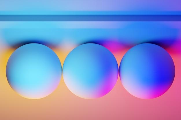 Figures volumétriques géométriques 3d de trois boules avec une ombre