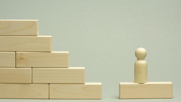 Figurine en bois d'un homme se dresse sur un escalier fait de blocs sur la première marche. le concept de la réalisation des objectifs fixés dans les affaires, la croissance de carrière, le démarrage