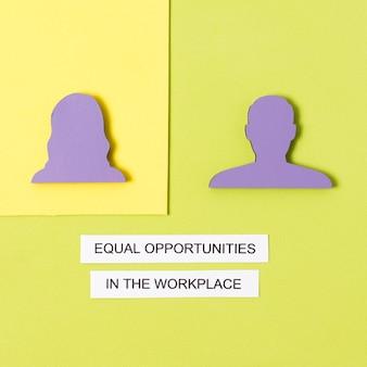 Figurine de l'égalité des chances sur le lieu de travail femme et homme