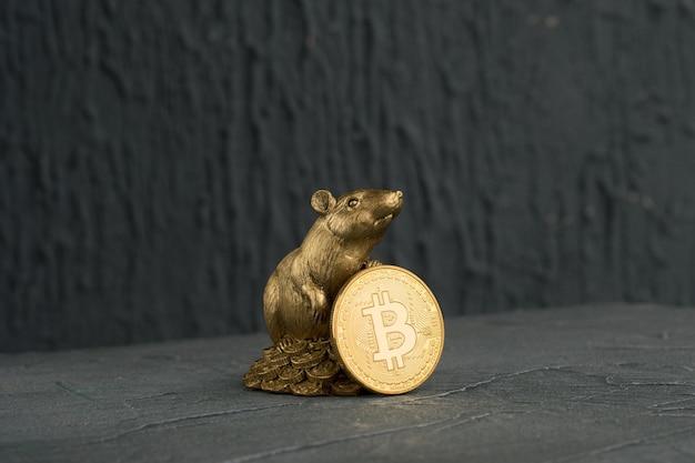 Figurine de rat de noël symbole de la nouvelle année 2020 avec pièce d'or bitcoins