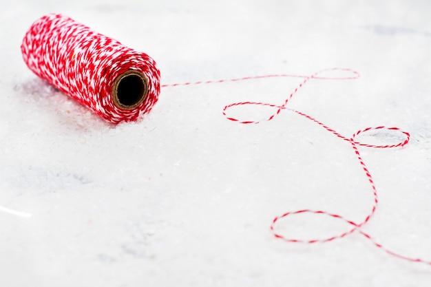 Fil décoratif de noël rouge et blanc